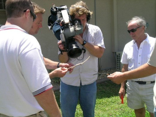 Fox News' Phil Keating showing wire corrosion at Wilson house, Cape Coral, FL