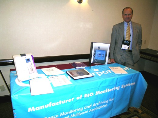 Our rep Ed Green of ETA Associates mans the tabletop exhibit at IAHCSMM's fall meeting in Boston