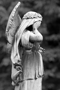 Angel weeping over public health crisis